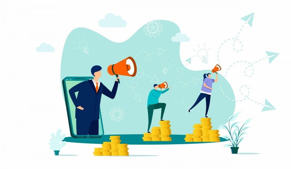 Referral marketing concept in flat style. Marketer announce in megaphone scene. Promoting in social media, referral program web banner. Vector illustration with people characters in work situation.
