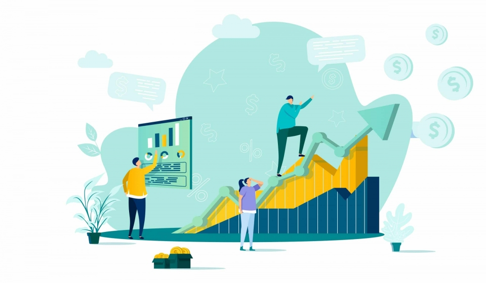 Sales management concept in flat style. Manager analyzing growing chart scene. Developing sales force, coordinating sales operations. Vector illustration with people characters in work situation.