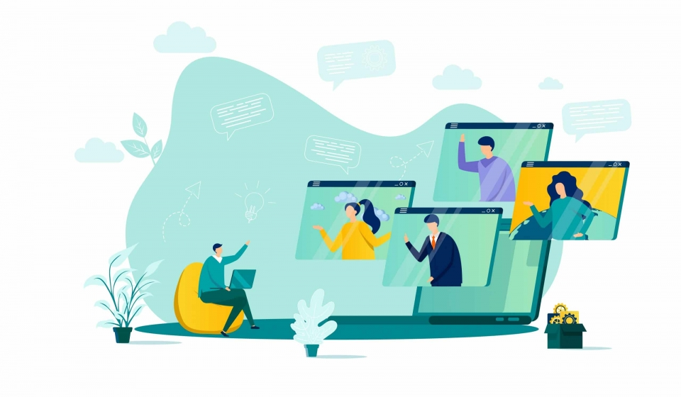 Video conference concept in flat style. Team members discussing project online scene. Web communication, teleconference and video call. Vector illustration with people characters in work situation.