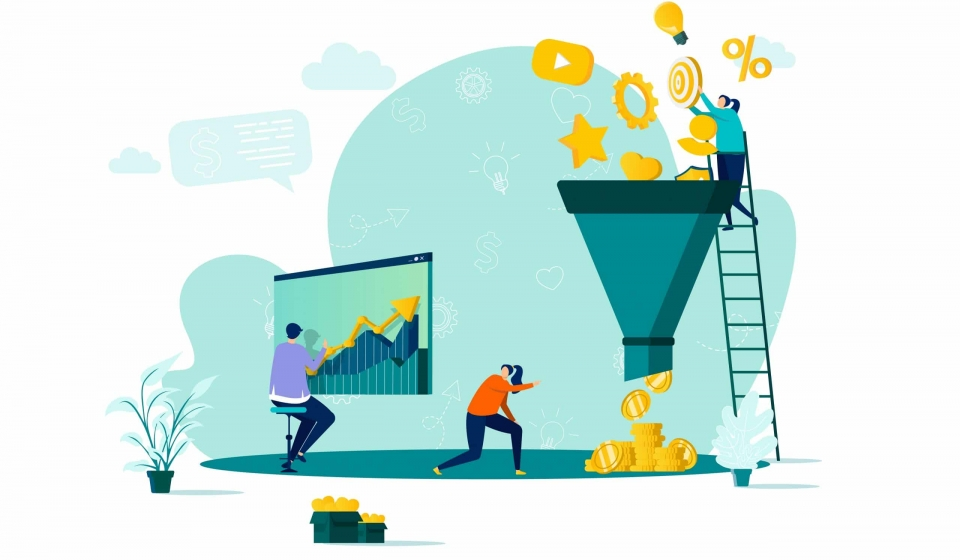 Marketing funnel concept in flat style. Marketers processing data scene. Marketing research, strategy planning, attraction new customers. Vector illustration with people characters in work situation.